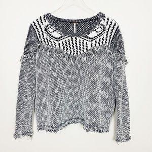 FREE PEOPLE Boho Fringe Pullover Sweater M Black